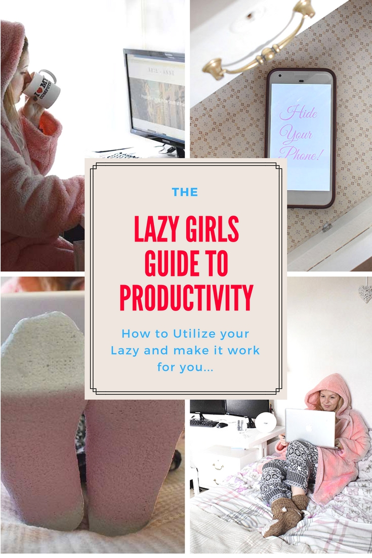 The Lazy Girls Guide to Productivity. Pinterest Graphic. how to stop being lazy and get more productive. utilize your lazy to make it work for you. productivity hacks