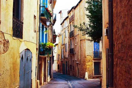 French Village Side Street in montpellier city centre