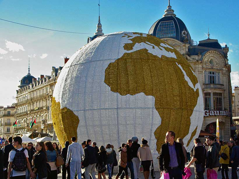 Montpellier Globe surrounded by French People