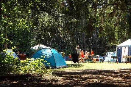 Picture of a family camping in europe with tents