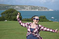 Brie-anne during a trip to Swanage enjoying the fresh air on the clifftop